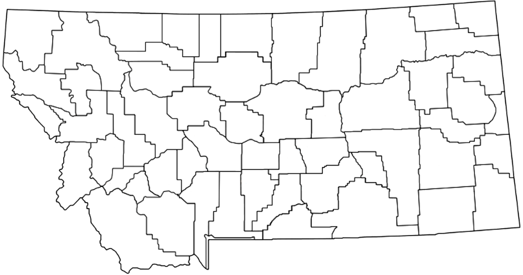 Montana map with county links.